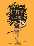 Skull halloween. orang background. Skull. Happy Halloween Monster hand drawing  image Royalty Free Stock Photography
