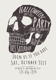 Skull Halloween Party Invitation Flyer. Vector Halloween Party Invitation with hand drawn skull stock illustration