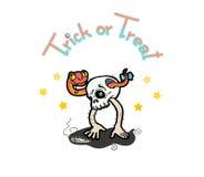 Skull happy in halloween. Hand draw vector cartoon illustration Vector Illustration