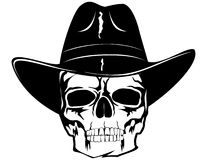 Skull in  hat. Skull in black cowboy's hat Royalty Free Stock Image