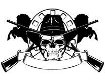Skull in hat. Skull in black hat with the crossed rifles Stock Photo