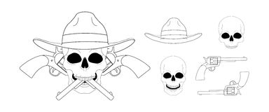 Skull in hat 2 crossed pistols emblem. Linear Royalty Free Stock Photos