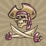 Skull in a hat with crossed swords Stock Photo