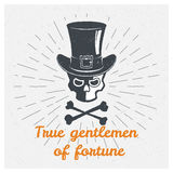 Skull, hat, cylinder, gentleman. Inspiring Creative Motivation Quote.. Vector Typography Poster Design Concept Stock Photos