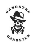 Skull in hat gangster. Vector skull emblem Trilby hat with a cigarette in his mouth retro style black and white emblem Stock Photo