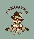 Skull in hat gangster. Vector gangster emblem with two Colts retro style Stock Photo