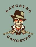 Skull in hat gangster Stock Photography