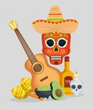 Skull with hat and guitar to celebrate day of the dead event. Vector illustration royalty free illustration