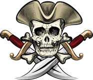 Skull in the hat. Illustration with skull in sailor hat against two dirks drawn in tattoo sketch style Royalty Free Stock Photos