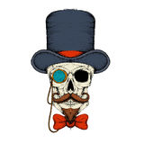Skull in a hat monocle with a beard sketch vector Stock Image