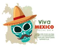 Skull with hat and mustache to day of the dead event. Vector illustration vector illustration