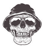 Skull in Hat and Sunglasses Royalty Free Stock Image