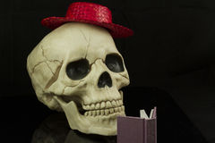 Skull and hat. Skull wearing a red straw hat and reading a book Royalty Free Stock Photography