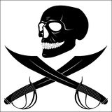 Skull-Head. Old logo of the pirates - laughing skull-head with swords Stock Image