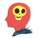 Skull in head cartoon doodle Royalty Free Stock Images