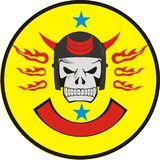 SKULL HEAD OF FIRE. The Badge of skull in helmet to create best image to your motor community Stock Photography