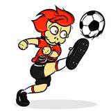 Skull head soccer player. Kicking ball with red uniform Royalty Free Stock Images