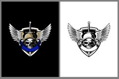 Skull head vector with soldier helmet and Wing badge logo template royalty free illustration