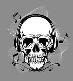 Skull with headphone Stock Photography