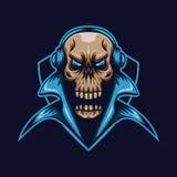 Skull headphone shield e sport logo. Amazing design for your company or brand royalty free illustration