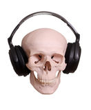 Skull with headphones Stock Photos