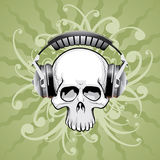Skull with headphones Royalty Free Stock Image