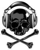 Skull in headphones Stock Photos