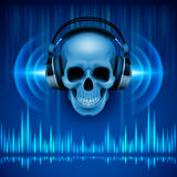 Skull in headphones. Disco background Royalty Free Stock Image