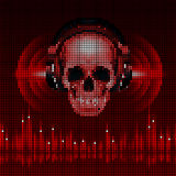 Skull in headphones. Disco background Stock Images