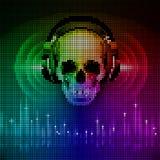 Skull in headphones. Disco background Stock Photography