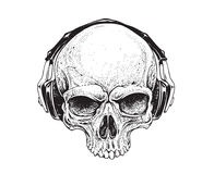 Skull with Headphones. Dotwork styled skull with headphones. Vector art Royalty Free Stock Photos