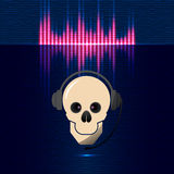 Skull in headphones, equalizer in blue shades Royalty Free Stock Photo