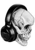 Skull in headphones halftone Royalty Free Stock Photos