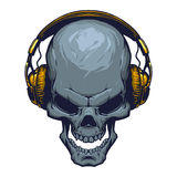 Skull with headphones. Illustration in vector on white background Stock Photos
