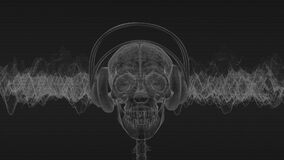 Skull with headphones listens to dark music.