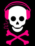 Skull with with headphones music pl Royalty Free Stock Photography