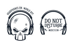 Skull in headphones print with quote. Vintage Stock Photo