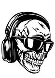 Skull in headphones and sunglasses Stock Image