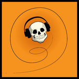 Skull with headphones Royalty Free Stock Images