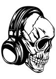 Skull in headphones Stock Image