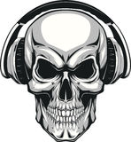 Skull with headphones Stock Photography