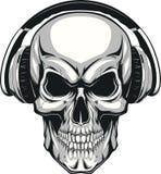 Skull with headphones. Vector illustration, human skull listening to music on headphones Stock Photography