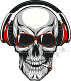 Skull with headphones Stock Image