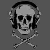 Skull and Headphones vector. Vector image of human skull in stereo ear-phones Stock Images