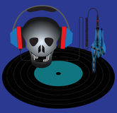 Skull with headphones and vinyl record. Stock Image