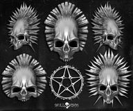 Skull heads and pentagram. Set of skull heads with pagan pentagram Royalty Free Stock Images
