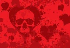Skull heart. Spot on background of the skull in heart Stock Photography