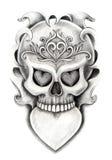 Skull heart art tattoo. Royalty Free Stock Image