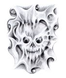 Skull heart art tattoo. Stock Photography