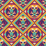 Skull and heart on colored geometric background - seamless vector pattern. Abstract geometric seamless vector background. Stock Photography